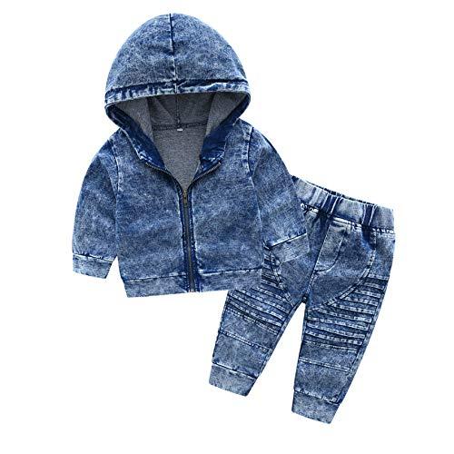 (Fairy Baby 2Pcs Toddler Baby Boys Denim Outfit Clothes Set Hooded Zip Denim Jacket+Pant Set Size 3T (Blue) )