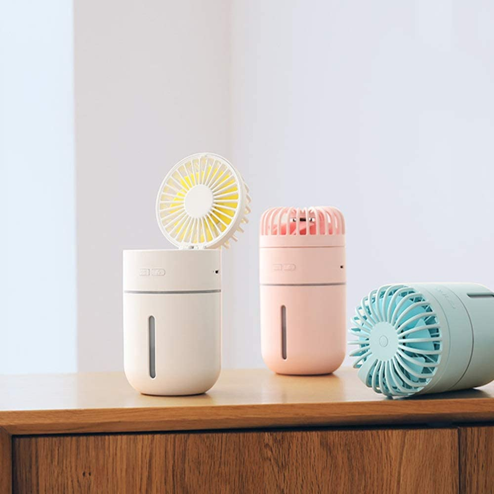 Color : A 1.5A 2W BNSDMM USB Rechargeable Mini Fan Spray Humidification Student Dormitory Dormitory Portable Small Car Desk Surface DC5V