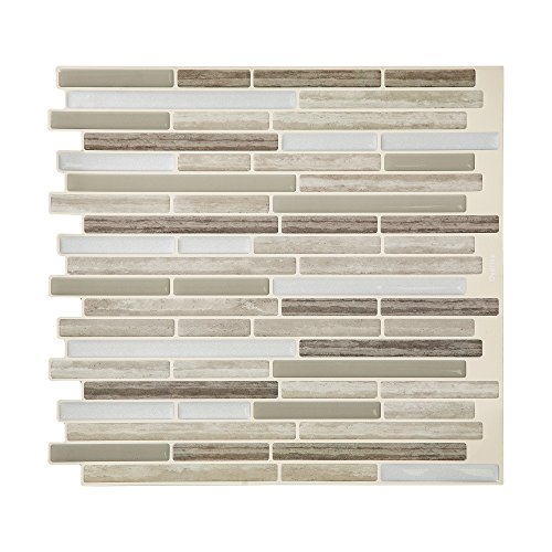 Tack Tile Peel & Stick Vinyl Backsplash Thin Mosaic Brown (Pack of -