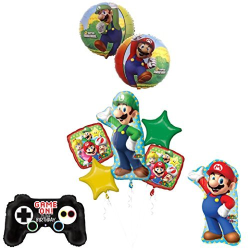 The ULTIMATE Super Mario Brothers and Luigi Video Game Birthday Party Supplies Decorations by Mayflower Products