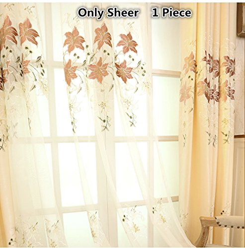 TIYANA Off White Embroidered Sheer Curtain Panels for Living Room 84 inch Long Floral Embroidery Screening Sheer Tulle Voile Gauze Curtains for Bedroom, 1 Piece 75×84 inch For Sale