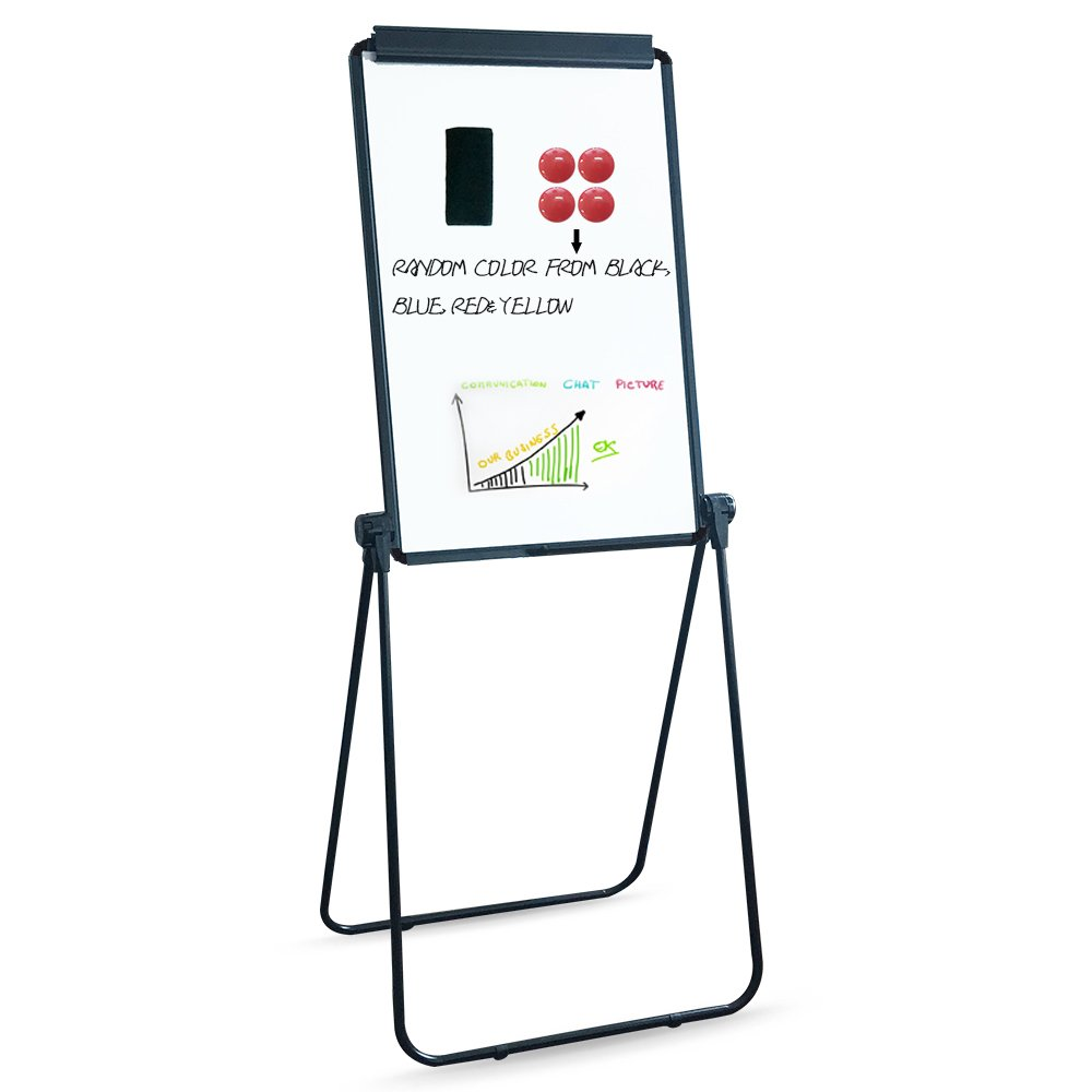 XIWODE MagneticEasel-style Dry Erase Board, Flip Chart Black U-StandWhiteboard, 36 x 24 Inch,Aluminum Framed, with Metal Clipsand Eraser, Foldable WhiteBoard for School, Home, Office by XIWODE (Image #1)
