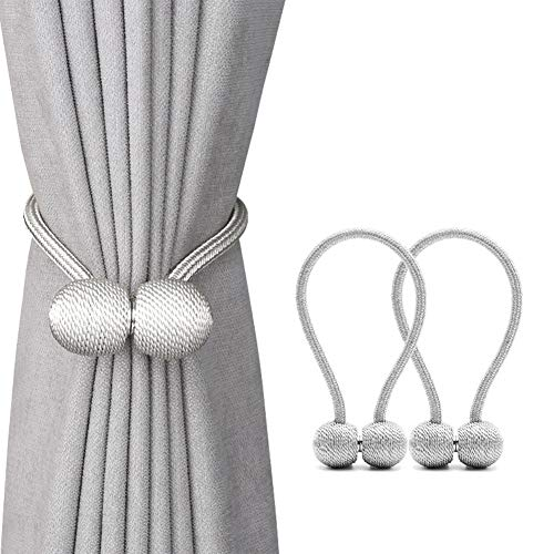 DEZENE Magnetic Curtain Tiebacks,The Most Convenient Drape Tie Backs,2 Pack Decorative Rope Holdback Holder for Big,Wide or Thick Window Drapries,16 Inch Long,Silver Grey
