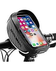 "ROCK BROS Bike Phone Bag Bicycle Phone Mount Bag Waterproof Handlebar Bike Phone Case Holder Sensitive Touch Screen Phone Compatible with iPhone X XS Max XR 8 7 Plus Below 6.5"""
