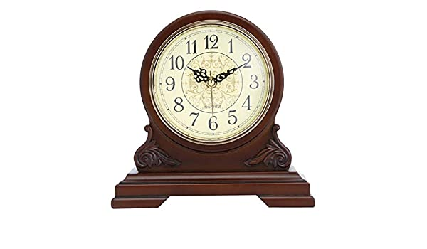 Amazon.com : LQUIDE Family Fireplace Clocks Desk Clock, Wooden Clock, Non-Ticking Silent Table Clock Silent Shelf Clock Decorative Table Suitable for Living ...