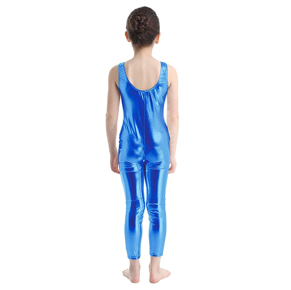 Yeahdor Kids Girls Shiny Metallic Ballet Dance Tank Leotard Unitard Dancewear Gymnastics Bodysuit Full Body Catsuit