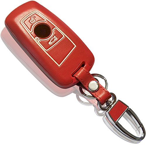 DOBREV HOT Genuine Leather Glow in the Dark Remote Key Fob Case for BMW (red) (Hot Red Bmw)