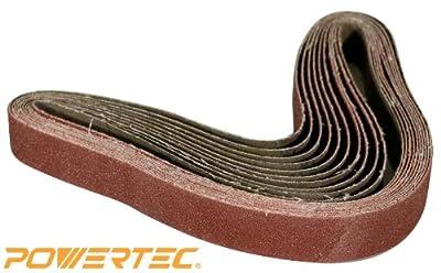 POWERTEC 111370 1-Inch x 30-Inch 400 Grit Aluminum Oxide Sanding Belt, 10-Pack by POWERTEC