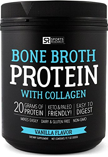 NEW! Bone Broth Protein with Collagen (Vanilla Flavor) ~ Paleo & Keto diet approved ~ For Healthy Skin, Joints & Muscles ~ Gluten, GMO & Dairy ()