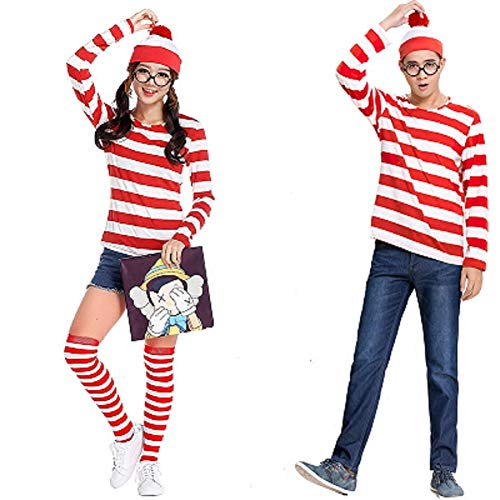 Taipin Where's Waldo Costume Funny Sweatshirt Outfit Glasses Suits for...