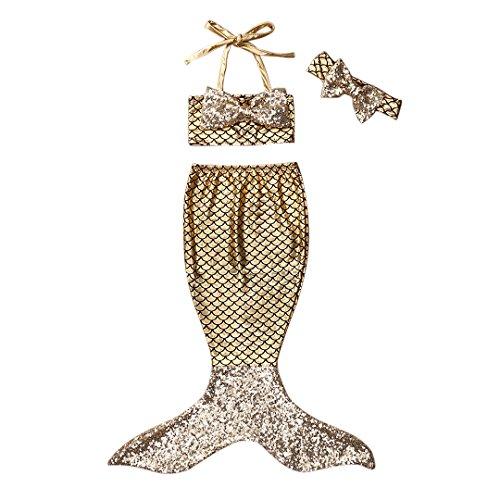 3pc Baby Girl Princess Mermaid Sequins Swimsuit Bow Costume Headband Bikini swimwear (90(2-3 Years), -
