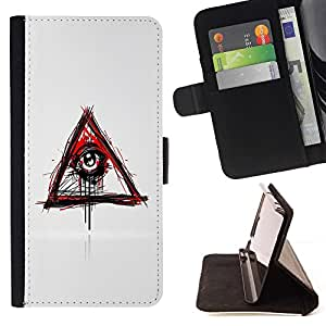 For HTC One M8 Evil Bleeding Eye Illuminati Style PU Leather Case Wallet Flip Stand Flap Closure Cover