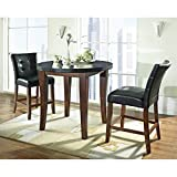 Steve Silver Granite Bello 3pc Round Counter Dining Set in Cherry Review