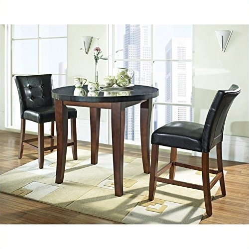 Steve Silver Granite Bello 3pc Round Counter Dining Set in Cherry