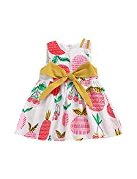 OCEAN-STORE Princess Dress Kid Baby Girl Sleeveless Pineapple Printed Bow Party Clothing