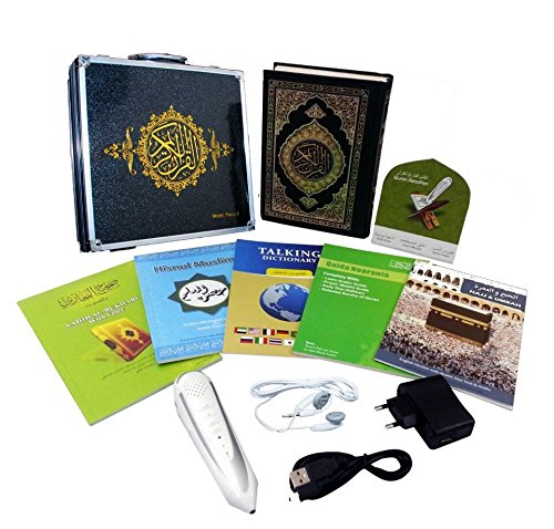 Digital Holy Quran Pen Exclusive Word-by-Word Function for Kid and Arabic Learner Downloading Many Reciters and Languages Digital Qu'ran Talking Pen 5 Small Books Metal Box Anlising