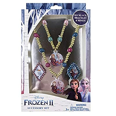Luv Her Frozen 2 Girls 4 Piece Princess Toy Jewelry Box Set with Gold Rings, Bead Bracelet and Bead Necklace: Toys & Games