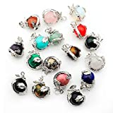Joya Gift Natural Crystal 15MM Ball Silver Alloy Dragon Chakra Gemstone Pendant for DIY Making Women Charm Jewelry