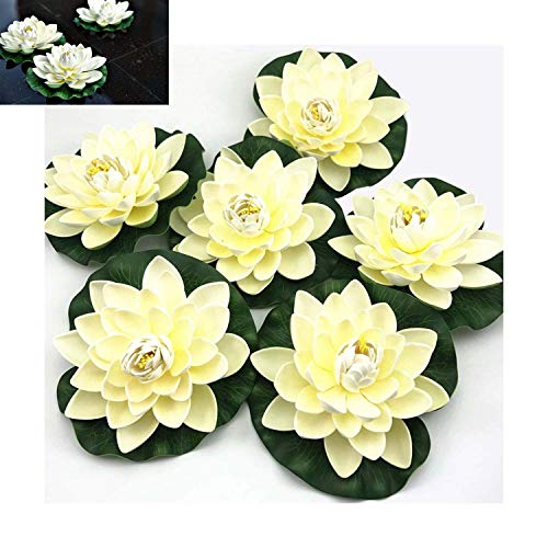 (CulturePRN Artificial Floating Foam Lotus Flowers - 6PCS Water Lily Pad Ornaments, Ivory White, Perfect for Patio Koi Pond Pool Aquarium Home Garden Wedding Party Special Event Decoration)
