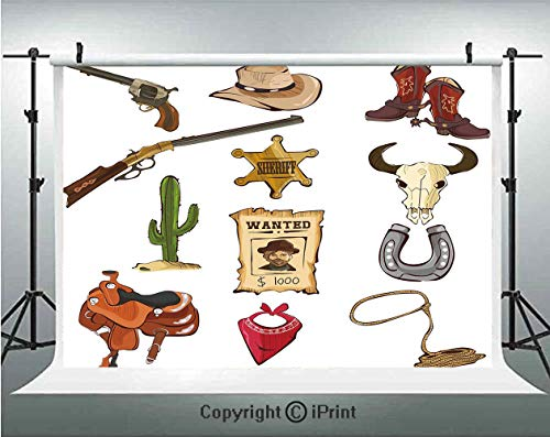 Western Photography Backdrops Cartoon Style Collection of Old Wild West Icons Sheriff Shotgun Saddle Cactus Print,Birthday Party Background Customized Microfiber Photo Studio Props,5x3ft,Multicolor