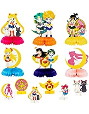 Xqumoi 12 Pcs Sailor Moon Honeycomb Centerpieces Table Toppers 3D Cardstock Table Decorations Kit, Double-Sided Sailor Moon Themed Party Favors Supplies Photo Booth Props for Kids Girls Birthday Party
