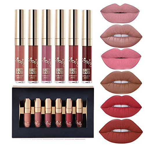 6pcs Matte Velvety Liquid Lipstick Matte Liquid Lipgloss Waterproof Lip Gloss (Case Sensational White)