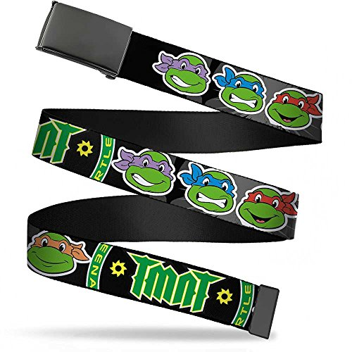 - Buckle-Down Big Web Belt Ninja Turtles, Classic Tmnt Group Faces/Tmnt/Ninja Star Black/Green, 1.0