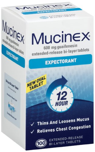 Mucinex Expectorant, Bi-Layer Tablets, 100-ct blister packs