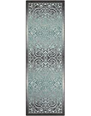 Runner Rug, Maples Rugs [Made in USA][Pelham] 2' x 6' Non Slip Hallway Entry Area Rug for Living Room, Bedroom, and Kitchen - Grey/Blue