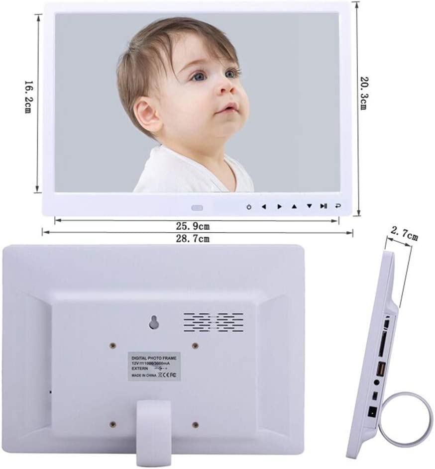 USB Port and SD Card Slot and Remote Control 12-inch Widescreen Digital Photo Frame Black with 1280800 IPS Display