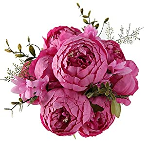 vibe-pleasure Artificial Flowers Wedding Vintage European Peony Wreath Silk Fake Flowers Heads Home Festival Decoration 13 Branches Home,New Rose red 36