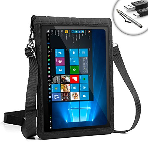 USA Gear T12 Tablet Case with Touch Capacitive Screen & Adjustable Shoulder Sling / Display Strap - Works with HP Spectre x2 & More Tablets from HP , ASUS , Samsung & Lenovo up to 12
