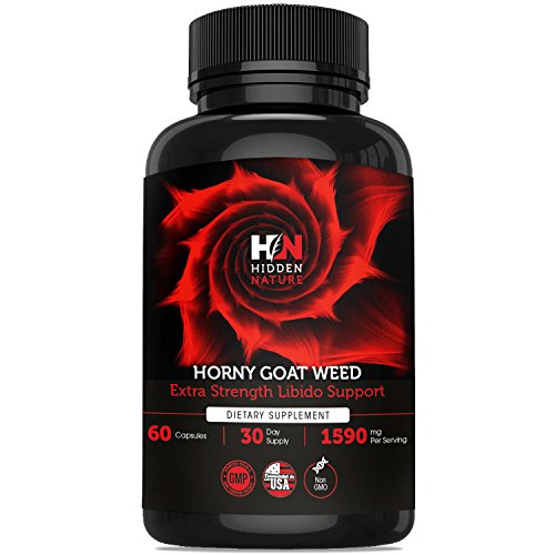Pure Horny Goat Weed with Maca & Tribulus, Female & Male Enhancement Fast Acting Pills, Natural Energy, Performance, Libido Booster & Sexual Health | 60 1590 mg Optimum Dosage (Pill Performance Male Enhancement)