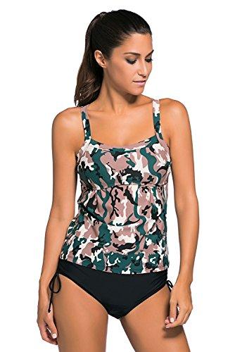 New Dark camouflage stampato 2PCS Tankini set bikini Swimsuit Swimwear estivo taglia UK 12EU 40