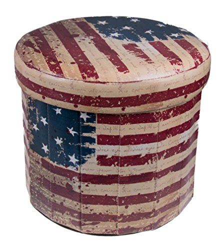 Clever Creations Premium Red, White, and Blue Circular American Flag Themed Folding Ottoman Storage Organizer
