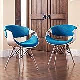 Nautical & Coastal Adams Contemporary Teal Blue Velvet Wood Accent Chair