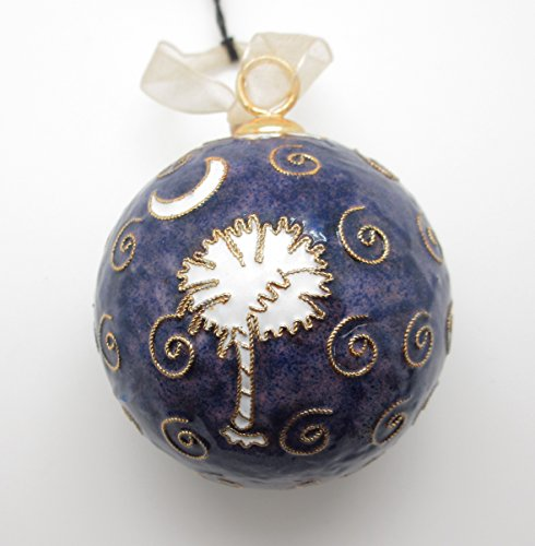 South Carolina Palmetto Tree Moon Cloisonne Collectible Christmas Ornament