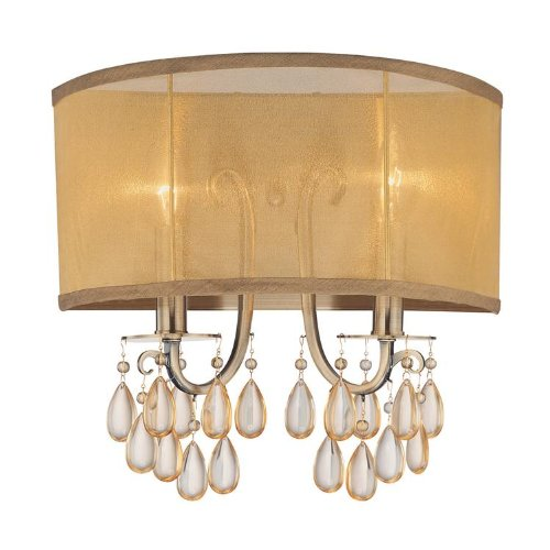 Crystorama Antique Brass Sconce - Crystorama Lighting 5622-AB Wall Sconce with Etruscan Smooth Oyster Crystals and Silk Fabric Shades, Antique Brass by Crystorama Lighting