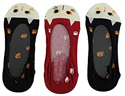 Women\'s Cute Kitty Cat Face No Show Liner Socks (3 Pair) Black Red