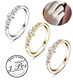 Besteel 3Pcs Womens Cubic Zirconia Eternity Ring Stackable Engagement Wedding Band Rings,6