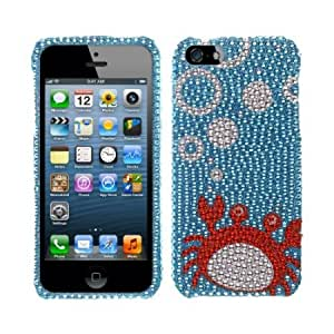 Cerhinu Fincibo (TM) Bling Crystal Rhinestones Hard Snap On Protector Cover Case For Apple iPhone 5, Blue Red Crab