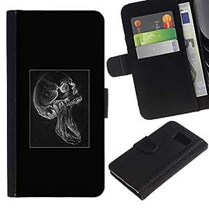 NEECELL GIFT forCITY // Billetera de cuero Caso Cubierta de protección Carcasa / Leather Wallet Case for Sony Xperia Z3 Compact // Cráneo gótico Scream