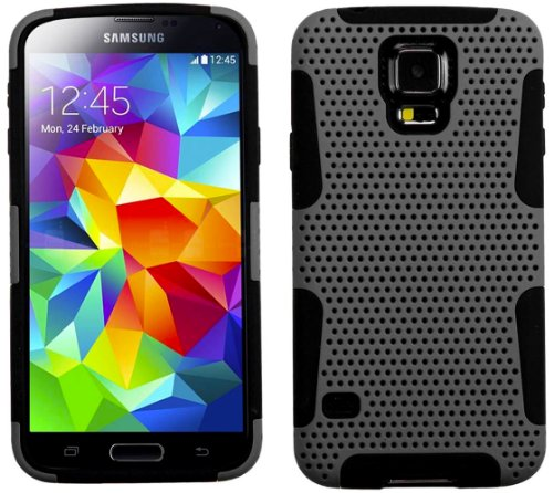 myLife Gray and Dark Charcoal Black - Perforated Mesh Series (2 Layer Neo Hybrid) Slim Armor Case for the NEW Galaxy S5 (5G) Smartphone by Samsung (External Rubberized Hard Shell Mesh Piece + Internal Soft Silicone Flexible Gel)
