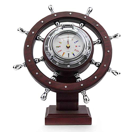 Five Oceans Ship Wheel Desk Clock, Flag FO-3967
