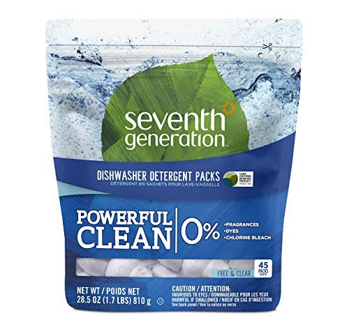 Seventh Generation Fragrance Free Dishwasher Detergent Pack, 45Count, Pack  of 2