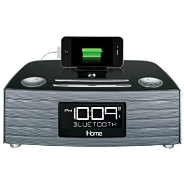 iHome IBT97GC Bluetooth Stereo FM Clock Radio with USB Charging - Gunmetal