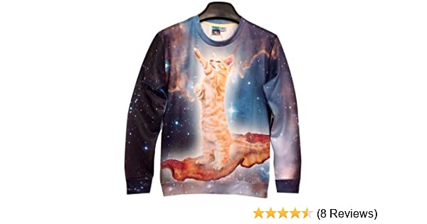 9973012c74cd8 Amazon.com  Galaxy Sweatshirts Funny Sky Cat 3D Sweaters Hoodies for Women  Sweater (M)  Clothing
