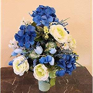 Blue Hydrangea Cemetery Arrangement, Cemetery Arrangement with Ranunculus, Flowers For Cemetery Vase 3