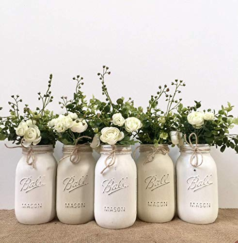 (Mason Jar Centerpiece Set, Pint Size Jars, Your Choice of Jar Colors, 3-4-5 piece sets, Pint or Quart Size, Silk Flowers)