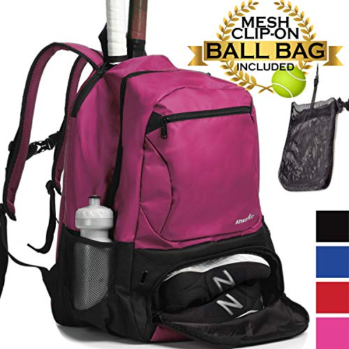 Athletico Premier Tennis Backpack - Tennis Bag Holds 2 Rackets in Padded Compartment | Separate Ventilated Shoe Compartment | Tennis Bags for Men or Women (Pink)